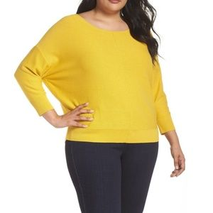 Sejour Yellow Ballet Neck Pullover Sweaters